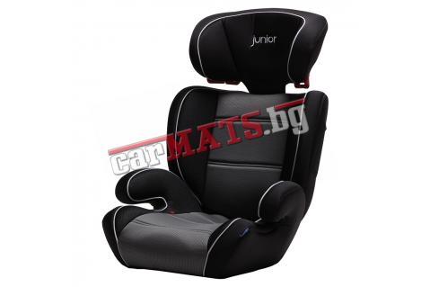 Детско столче за кола Petex Junior - Basic - черен цвят с бели кантове
